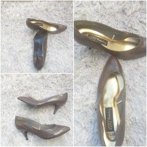 80s Vintage Faux Snakeskin Shoes Size 10M